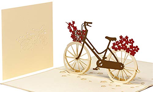 Pop Up 3D Blumen-Fahrrad-Karte, Glückwunschkarte, Freundschaftskarte, Geschenkkarte, Überraschungskarte mit einem Damenrad und roten Blumen gut Kombinierbar mit einem Gutschein zum Geburtstag