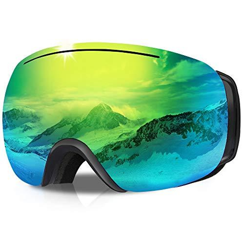 GANZTON Skibrille Ski Snowboard Brille OTG Brillenträger Schneebrille Doppel-Objektiv UV-Schutz Anti-Fog Snow Snowboardbrille mit Verstellbares Band für Damen Herren Jungen Mädchen(Schwarz)