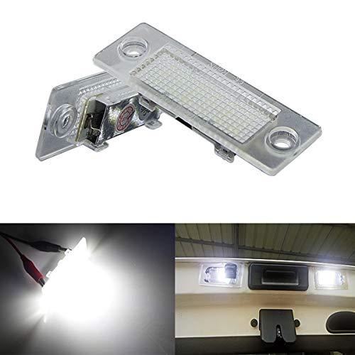 GOFORJUMP 2Pcs 18 LED 3528 SMD Numéro Lampe de Plaque d'immatriculation Lampe de Voiture Style pour V/W Touran Caddy 3 Golf 5 Plus Jetta 5 Passat B5.5 B6 Berline