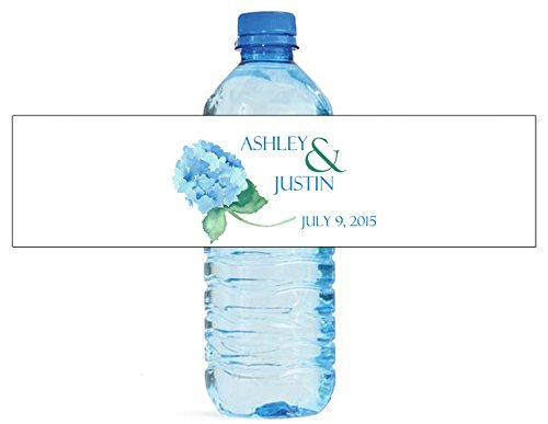 "100 Hydrangea Wreath Wedding Water Bottle Labels Engagement Party 8""x2"""