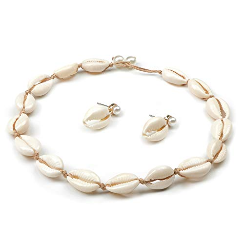 Sllaiss Cowrie Shell Necklace Earrings Set for Women Girls Hawaii Beach Choker Necklace Beach Shell Drop Earrings Pearl Rope Jewelry Set for Summer