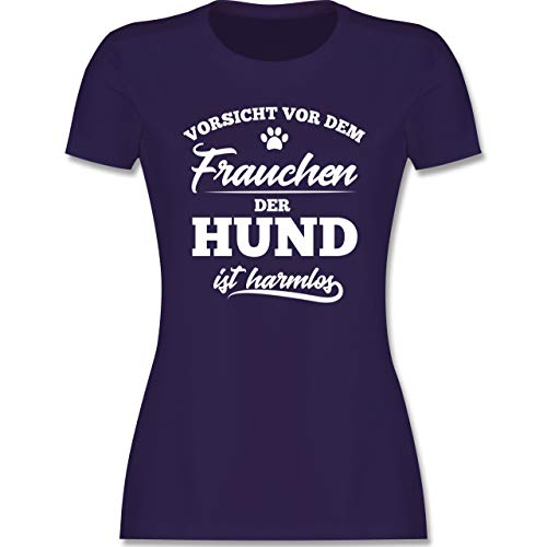 Hunde - Vorsicht vor dem Frauchen der Hund ist harmlos - S - Lila - hundeshirts Damen - L191 - Tailliertes Tshirt für Damen und Frauen T-Shirt