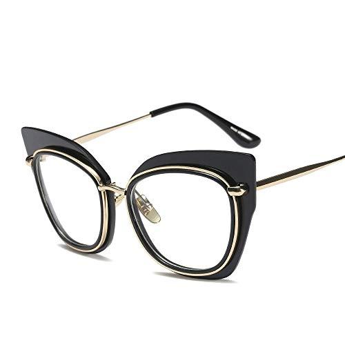 JKHOIUH Gafas de Raya de Metal de Ojo de Gato de Moda para Mujer Marco de Vidrio Gafas Transparentes (Color : Negro)