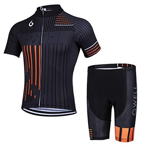 GWELL Herren Radtrikot Set Fahrrad Trikot Kurzarm + Radhose mit Sitzpolster Fahrradbekleidung MTB Sportanzug Orange (Set mit Shorts) L
