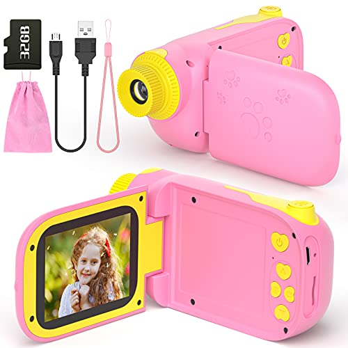ishantech Kids Digital Video Camera Toys for 3-10 Years Old Girls 1080P 2.4 inch IPS Screen Camera for Age 3 4 5 6 7 8 9 Yeas Old Toddler Kids Girls Best Birthday Gift Toys with 32G SD Card(Pink)