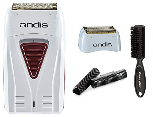 Andis Cordless Men's Long Lasting Lithium Battery Titanium Foil Shaver with Bonus Replacement Foil Assembly and Inner Cutters with a BeauWis Brush