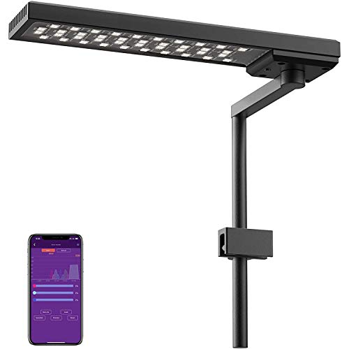 Chihiros C2 RGB Dimmable Aquarium LED Light with Bluetooth Controller Built-in, Suitable for Terrariums, Paludariums, and Nano Tanks Up to 18inch in Length