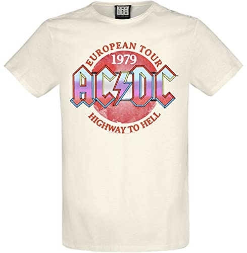 Men's AC/DC European Tour 1979 Highway To Hell T-shirt, Natural, S to XXL