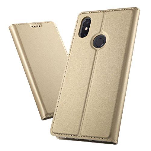 XINKO Xiaomi Mi MAX 3 Funda, Ultra Silm PU Funda Cuero Flip, Wallet PU Leather Carcasas Funda con Ranura de Tarjeta Cierre Magnético para Xiaomi Mi MAX 3,Liso Serie Dorado