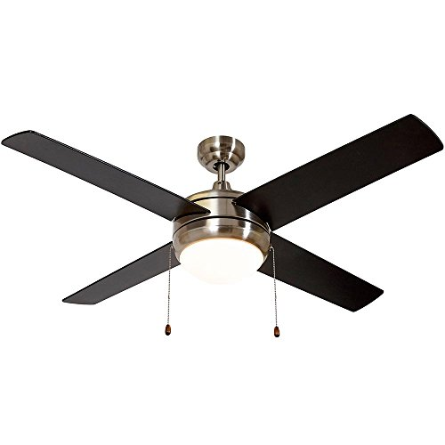 "Brushed Nickel Ceiling Fan with Light - Contemporary Modern Silver Finish Fan with LED Light 4 Blades 50"" Inch Ceiling Fans"