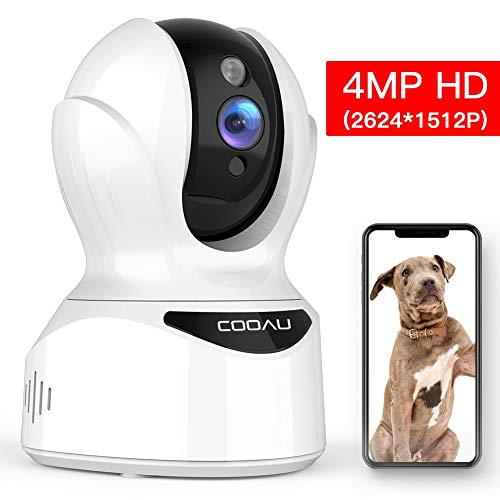 COOAU 4MP HD Home Security Camera, AI WiFi IP Pet Camera Wireless Baby Monitor with Face, Sound and Motion Detection, Motion Tracking, Night Vision, Two-Way Audio, Work with Cloud Service and Alexa