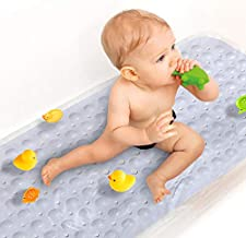 Upgrade Baby Bath Mat Non Slip Extra Long Bathtub Mat for Kids 40 X 16 Inch - Eco Friendly Bath Tub Mat with 200 Big Suction Cups,Machine Washable Shower Mat,White