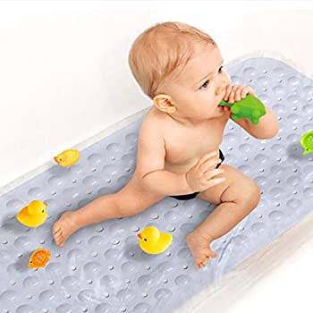 Sheepping Baby Bath Mat Non Slip Extra Long Bathtub Mat for Kids 40 X 16 Inch - Eco Friendly Bath Tub Mat with 200 Big Suction Cups,Machine Washable Shower Mat  White