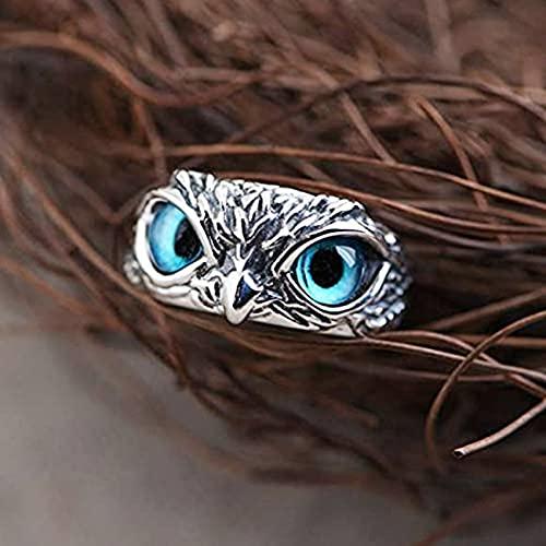 encanto vintage hombres y mujeres lindos diseño simple anillo de búho color plata compromiso anillos de boda regalos de joyería moda para hombres fiesta de globo ocular de acero inoxidable anime