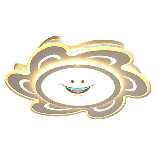 Wangyi Luz De Techo LED Regulable,Lámpara De Techo Diseño Dibujos Animados AcríLico Moderno Blanco para Niñas Habitación Estudio-Sin Auroras angustiadas 62cm