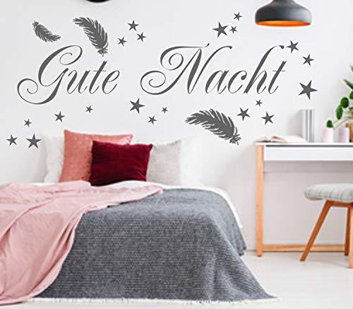 Wandtattoo Wandaufkleber Schlafzimmer Gute Nacht mit Federn und Sterne Aufkleber für die Wand (120 x 60 cm, Schwarz)