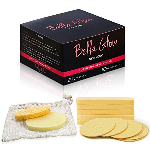 Bella Glow - 20 PVA & 10 Cellulose Compressed Facial Sponges - PVA & 100% Natural Cellulose Sponges for Facial Cleansing - Face Wash, Deep Cleansing & Exfoliating - Makeup Remover Sponge