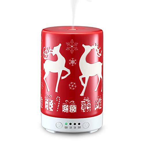 STAR MOON Aromatherapy Essential Oils Diffuser, Cool Mist Humidifier with Modern Printed Ceramic Cover and Night Light for Christmas Decoration - Christmas Red Reindeer