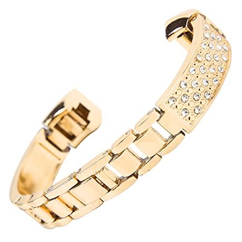 SALALIS Pulsera de decoración de muñeca, Pulsera de Diamantes de imitación con Incrustaciones de Mujer Adecuada para Todas Las Ocasiones Pulsera de Mujer Ajustable de tamaño Ajustable para(Dorado)