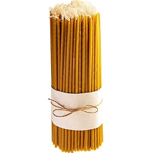 Meden Natural Beeswax Taper Candles (Yellow) - Ritual Candles, Orthodox Church Candle -Height 32cm (120 Candles -)
