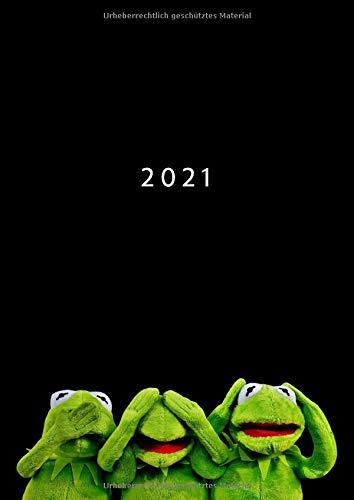 2021: A4 Wochenplaner mit Zeiteinteilung | Terminkalender mit Stunden 7 - 21h Tag | 1 Woche auf 2 Seiten mit Zeit | Kalenderbuch Planer Organizer ... Buchkalender Jahresplaner | Kermit der Frosch