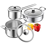 Nonstick Cookware Set, Elegant Life 6-Piece Nonstick Pots and Pans Set with Glass Lids, Premium 18/10 Stainless Steel Cooking Pots Set, Even Heating, Stovetop & Dishwasher Safe(silver)