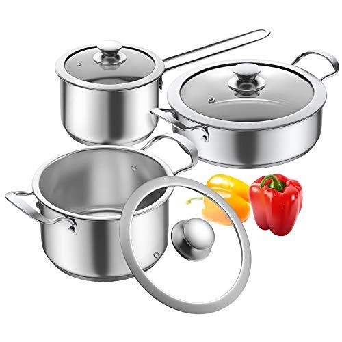 Cookware Set, Elegant Life 6-Piece Pots and Pans Set with Glass Lids