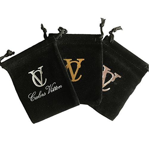 CalorsVitton十字架フープフェイクピアス(2色セット)クロスノンホールイヤリングフェイクピアスメンズユニセックスシルバー&ブラック(Cross012)
