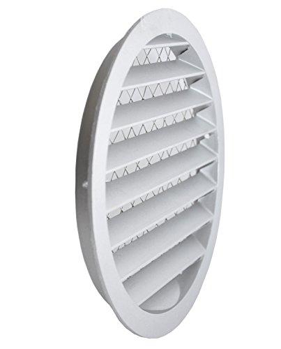 Griglia di ventilazione in alluminio, griglia per aria di scarico rotonda con zanzariera. Griglia in alluminio.