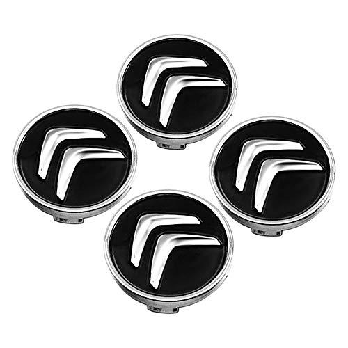 QUXING 4 Piezas Tapas Centro Tapacubos, para Citroen C4 Picasso C3 Berlingo C5 X7 C2 C1 Ds3 ZX Xsara C8 DS DS4 60MM Rueda Emblema Logo Insignia Llantas centrales Emblema Accesorios