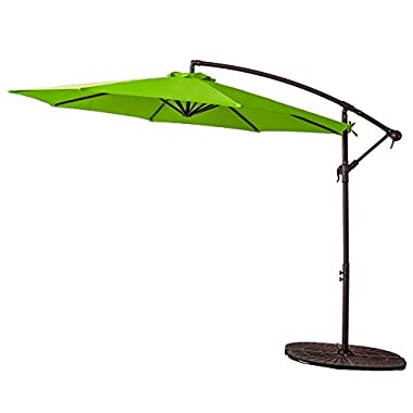 FLAME&SHADE 10 foot Offset Cantilever Umbrella, Hanging Outdoor Patio Umbrella with Crank Lift, Large Round, Apple Green
