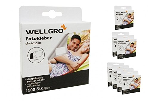 WELLGRO® Fototapes, Fotokleber, Fotosticker säurefrei, beidseitig klebend, in Spenderbox - 1500, 3000 oder 6000 Stück, Stückzahl:1500 Stück