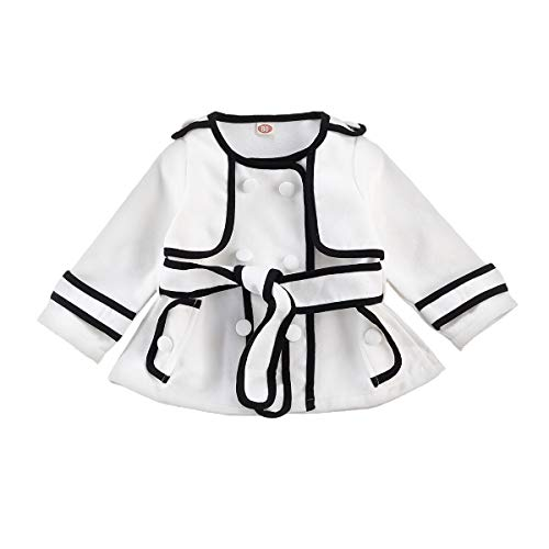 Toddler Kids Baby Girl Fall Winter Clothes Long Sleeve Jacket Trench Coat Windbreaker Breasted Belt Outerwear (White & black, 6-12 months)