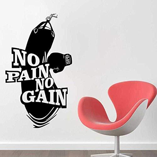 Pain No Gain Vinilo Tatuajes De Pared Decoración Del Hogar Arte Cartel Entrenamiento Fitness Guantes De Boxeo Saco De Boxeo Etiqueta De La Pared Mural 33X57Cm