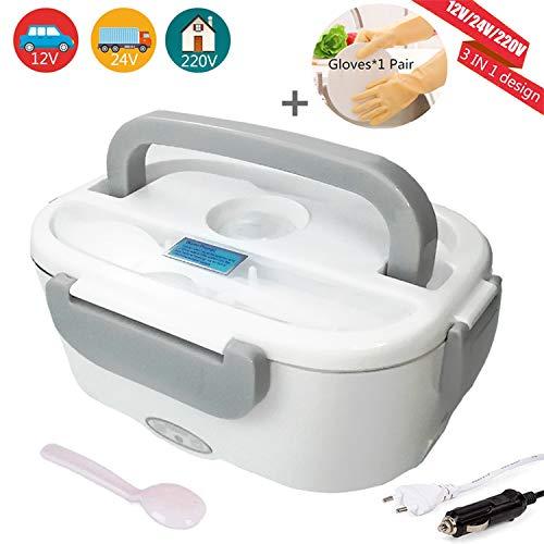 Nifogo Elektrische Lunchbox Speisenwärmer - 2-In-1 Heizung Brotdose für Auto und Büro, 12V / 220V, Edelstahl Warmhaltebox Tragbare Food Box mit 2 Abteilen (Grau + Handschuhe)