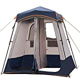 Papepipo Portable Camping Shower Tent - Outdoor Shower Enclosure with 2 Rooms, Pop Up Changing Tent with Toilet and Bathroom, Outside Privacy Shelters(Dark Blue)