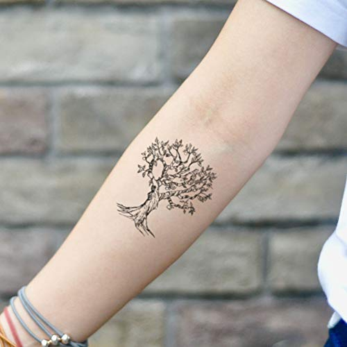 Apple Tree Arbol Temporary Tattoo Sticker (Set of 2) - www.ohmytat.com