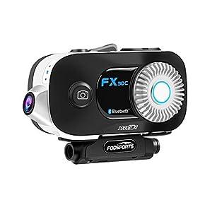 immagine di Interfono moto con Telecamera, Auricolare Bluetooth moto FODSPORTS FX30C Cancellazione del Rumore, sistema di comunicazione fino 6 motociclisti 1000M, 1080P/110 ° grandangolare/scheda SD da 32 GB