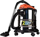 iBELL 2012WB 1200Watt 20-litres Wet and Dry Quick Vacuum Cleaner 1200Watt Stainless Steel Drum (Silver&Black)
