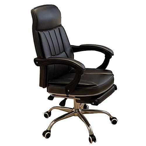 LHMYHJR Gaming Chair Bürostuhl Ergonomischer Chefstuhl Bürostuhl mit Fußstütze höhenverstellbar 135 ° liegende Metallbesatz/Stabiler und langlebiger Schreibtischstuhl-Schwarz