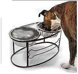 猫 犬ペット用 ダブル ボウル 高さがあるスタンド付 ステンレス製 食器 餌入り ごはん皿 お水入れ (L)