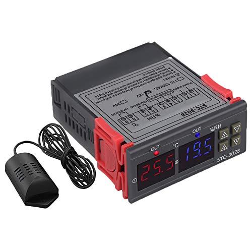SODIAL Stc-3028 Medidor De Humedad De Temperatura Digital 110-220 V 10A Termostato Pantalla Dual Termómetro Higrómetro Controlador Ajustable 0~100% Rh