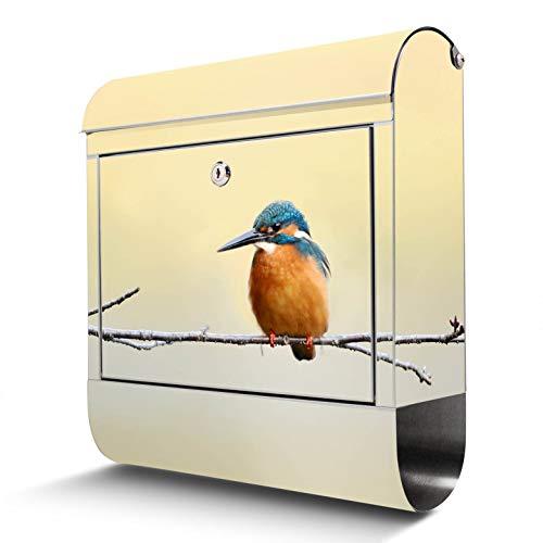 BANJADO Edelstahl Briefkasten mit Zeitungsfach, Design Motivbriefkasten, Briefkasten 38x43,5x12,5cm groß Pause