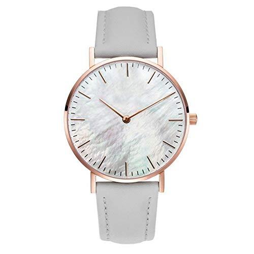 Clastyle Damenuhr Minimalistisch Ultradünne Armbanduhr für Damen Grau Mode mit Lederarmband