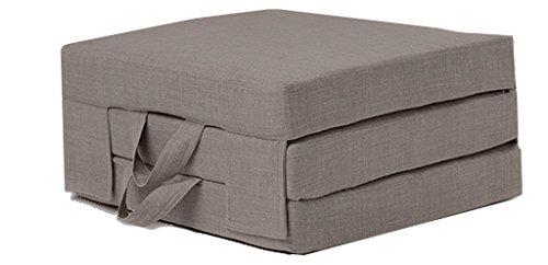 Fun!ture Single Portable Bedding Foam Folding Mattress | Carry Handles | Linen Effect Upholstery | Guest Sleepover Living Room | Folds In & Out for Storage (Slate Grey)