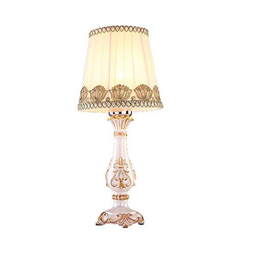 *KK* Europäische Stil Lampe Antike Tuch Tischlampe Schlafzimmer Bettdecke Persönlichkeit Hochzeit Geschenk moderne warme Nachttisch Lampe Trompete (Farbe: Push-Button-Schalter)