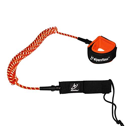 A ALPENFLOW 10' Coiled SUP Leash Surfboard Leash Stand up Paddle Board Leg Rope 10ft Paddleboard Legrope (Orange)