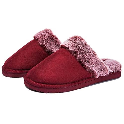 GOLDGOD Invierno Señoras Felpa Zapatillas, Térmico Mullido Ante Zapatillas De Casa Calentar Suave Cómodo Interior Antideslizante Memory Foam Zapatillas para Mujer,35/36 EU(2/3 UK)