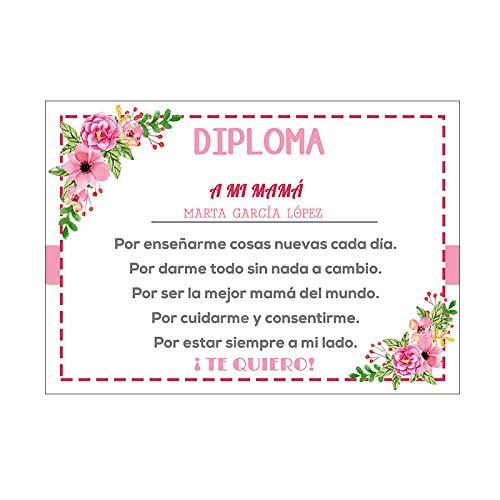 Diploma Mamá Personalizado/Regalo Original Madre/Incluye: Diploma + Sobre/Día de la Madre/Cumpleaños/Aniversario/Navidad
