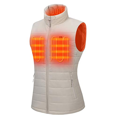 Venustas Women's Heated Vest with Battery Pack 5V, YKK Zippers and Water&Wind Resistant Beige